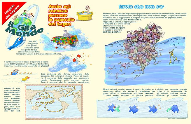 """doppia pagina nella rivista """"I Servizi"""" distribuita alle famiglie della città di Padova da Acegas-Aps. La doppia pagina serve a sensibilissare i ragazzini dagli 8 ai 12 anni al rispetto dell'ambiente."""